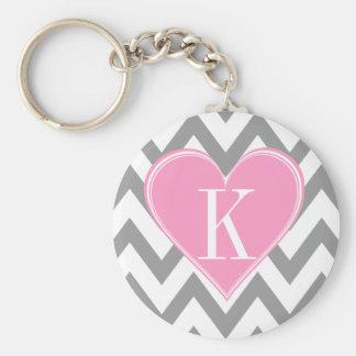 Gray Chevron with Pink Heart Monogram Key Chains