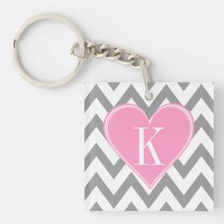 Gray Chevron with Pink Heart Monogram Keychain