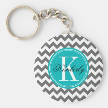 Gray Chevron With Teal Monogram Keychain by OrganicSaturation at Zazzle