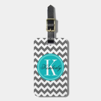 Gray Chevron With Teal Monogram Luggage Tag by OrganicSaturation at Zazzle