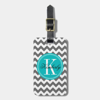 Gray Chevron with Teal Monogram Tag For Luggage