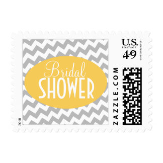 Gray Chevron & Yellow Bridal Shower Postage Stamps