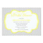 Gray Chevron Yellow Frame Bridal Shower Invitations