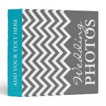 Gray chevron zig zag pattern wedding photo album binder
