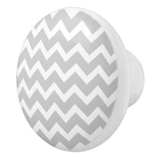 Gray Chevron Zigzag Pattern Ceramic Knobs