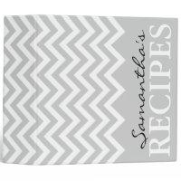 Gray chevron zigzag pattern recipe binder book
