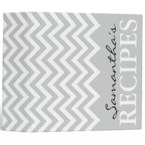 Gray chevron zigzag pattern recipe binder book