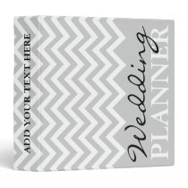 Gray chevron zigzag pattern wedding planner binder