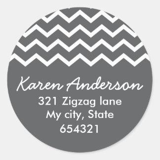 Gray chevron zigzag pattern zig zag address label round stickers