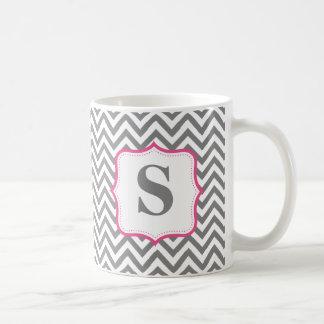 Gray Chevron Zigzag Pink Monogram Personalized Coffee Mug