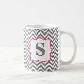 Gray Chevron Zigzag Pink Monogram Personalized Classic White Coffee Mug