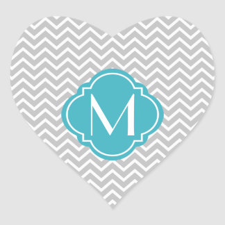 Gray Chevron Zigzag Stripes with Monogram Heart Sticker