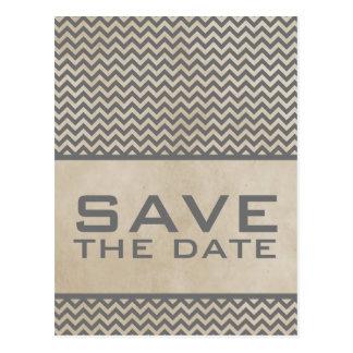 Gray Chic Chevron Save the Date Postcard