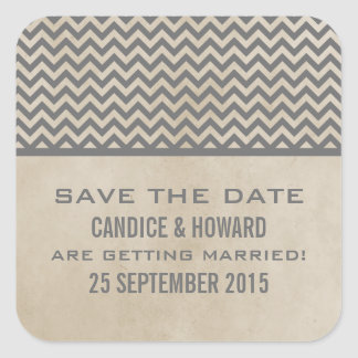 Gray Chic Chevron Save the Date Stickers