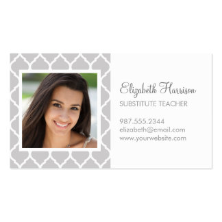 Gray Chic Moroccan Lattice Photo Double-Sided Standard Business Cards (Pack Of 100)