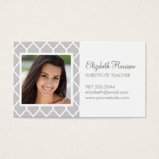 Gray Chic Moroccan Lattice Photo Business Card