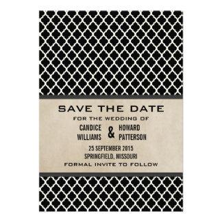 Gray Chic Quatrefoil Save the Date Invite