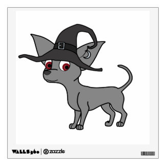 Gray Chihuahua with Witch Hat Wall Skins