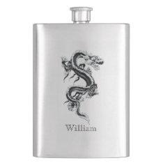 Gray Chinese Dragon Custom Flask at Zazzle