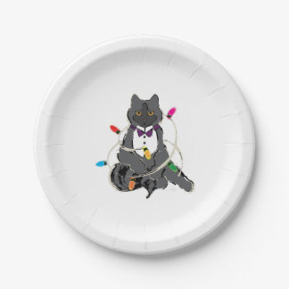 Gray Christmas Cat Paper Plate