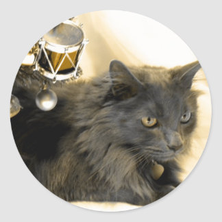 Gray Christmas Kitty IIII Classic Round Sticker