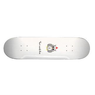 Gray christmas owl skateboard decks