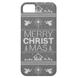 Gray Christmas Sweater Elegant Religious Angels iPhone SE/5/5s Case