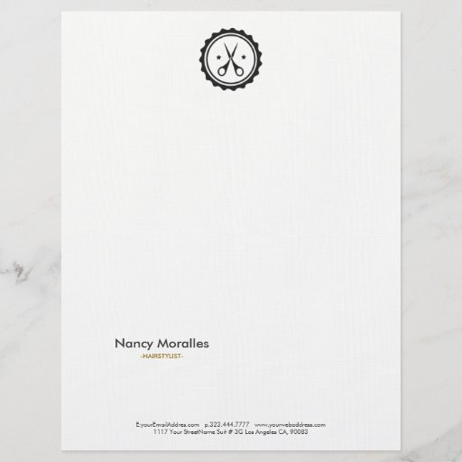 Gray Circle & Scissors Hairstylist Logo Letterhead