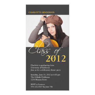Gray class of graduation photo announcement card