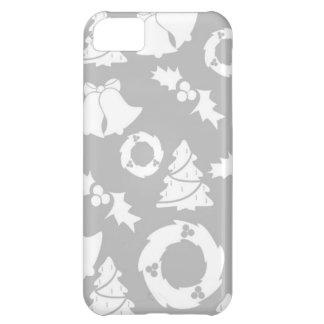 Gray Classic Icons Christmas Pattern Holiday Cover For iPhone 5C