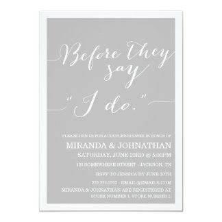 "Gray Classy Couple's Shower Invitations 5"" X 7"" Invitation Card"