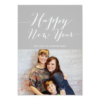 Gray Classy Happy New Year Photo Flat Cards