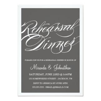 Gray Classy Rehearsal Dinner Invitations