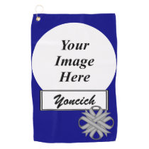 Gray Clover Ribbon by Kenneth Yoncich Golf Towel