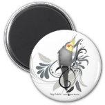 Gray Cockatiel 2 Inch Round Magnet