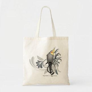 Gray Cockatiel Tote Bags