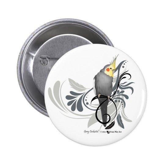 Gray Cockatiel Button