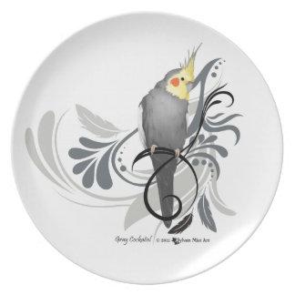 Gray Cockatiel Melamine Plate