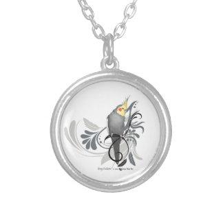 Gray Cockatiel Round Pendant Necklace