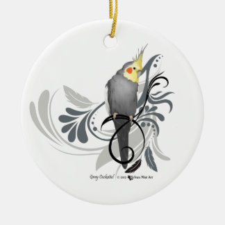 Gray Cockatiel Double-Sided Ceramic Round Christmas Ornament