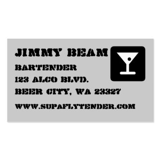 Gray Cocktail Bartender Business Card