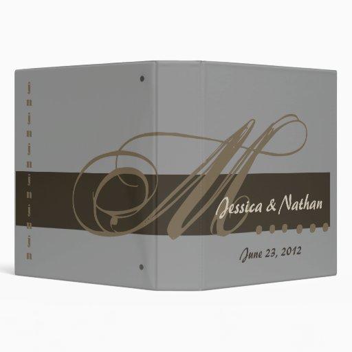 GRAY COFFEE CHOCOLATE Custom Wedding  Planner Binder