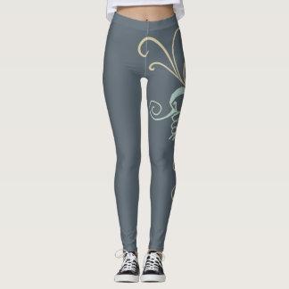 Gray Color Guard Leggings with Swirl Design