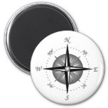 Gray Compass Rose 2 Inch Round Magnet