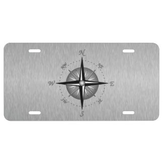 Gray Compass Rose License Plate