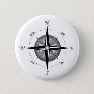 Gray Compass Rose Pinback Button