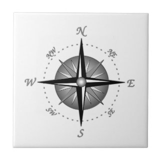 Gray Compass Rose Tile