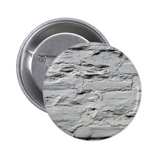 Gray concrete with exposed bricks pinback button