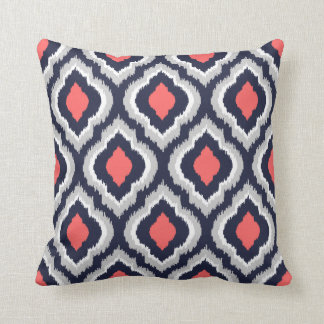 Gray Coral and Navy Ikat Moroccan Monogram Throw Pillow