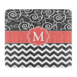 Gray Coral Chevron Monogram Cutting Board